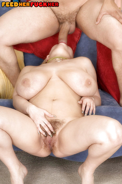 Buxom blonde fatty with hairy pussy delivering ball licking blowjob