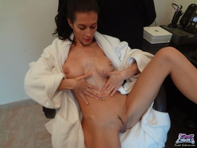 Rubbing on lotion after shower-room