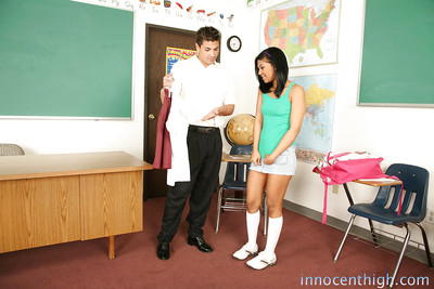 Emy Reyes gets naughty with her teacher and swallows his dagger