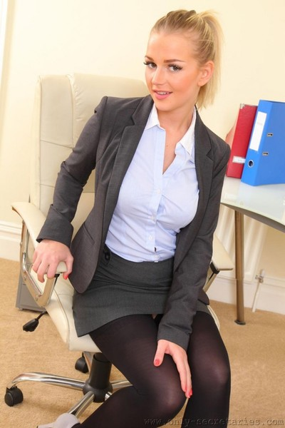 Office blondie teasing in stockings