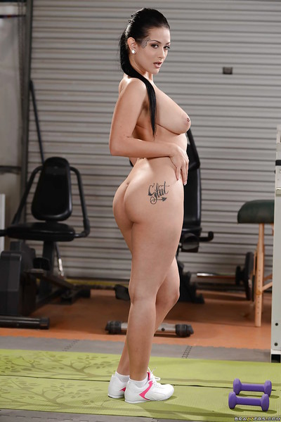 Sporty babe Katrina Jade shows off her hot big boobies afterwards workout