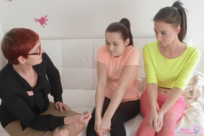 Nervous college girls are instructed on how to have perfect lesbian fun. See what happens as theyre convinced into first-time gal on gal action.