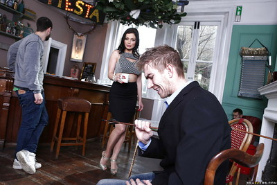 Office babe Aletta Ocean is pleasing her client with an oral play