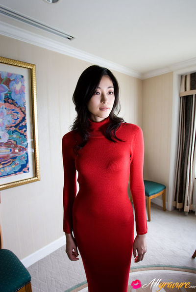 Noriko Aoyama Asian is a true diva in fashionable satin dresses