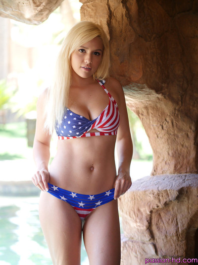 Kylie page celebrates the Quadrangle of july with patriotic sex