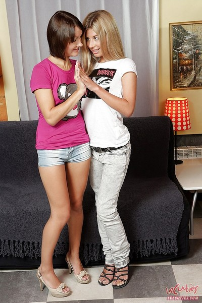 Juvenile lesbians Reilly and Ioana swelling tight enter gate with toys