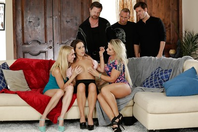 Busty chicks Ashley Adams, Cali Carter and Cadence Lux enjoy orgy fucking action