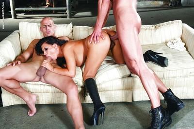 Latin cutie vixen Eva Angelina has some double penetration fun with dual hung chaps