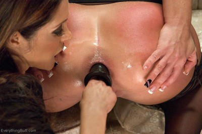 Big ass girls fist insertion enema squirting and huge strapon cock