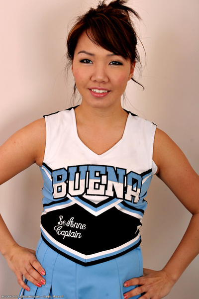 Infant Asian solo girl sheds cheerleader uniform to as mother gave birth insignificant young milk sacks