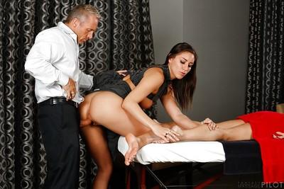 Tall MILF Janet Mason enlists Rilynn Rae to assist jerk off a penis