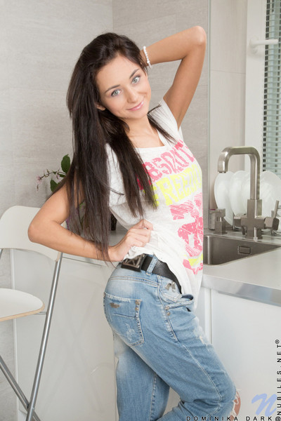 Dominika gets nude in kitchen