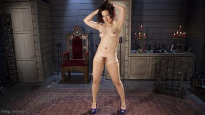 Ingrid gullet surrenders to beautiful and sturdy mistress kara enduring suspensio