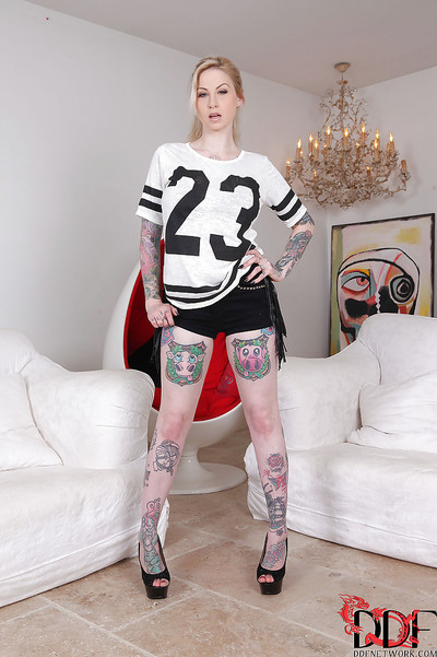 Hot fetish babe with tattoos Hollie Hatton is a trouble-free darling