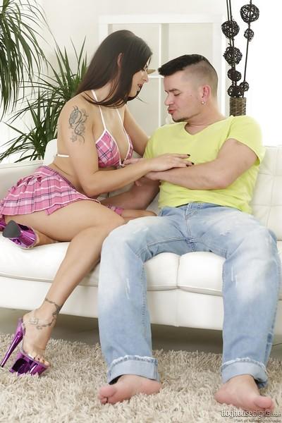 Hot European brunette Billie Star receiving oral slavery on trimmed cooter