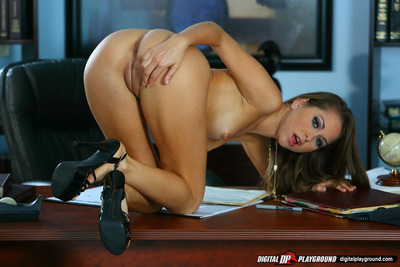 Amazingly lovely floosie undressing and posing on her office desk