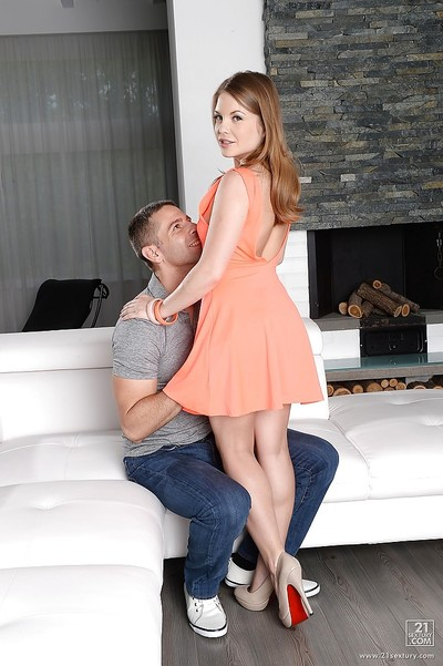 European infant Alessandra Jane has her tiny tits teased by her stallion
