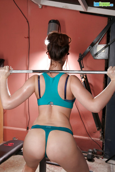 Chesty centerfold model Lana Kendrick working out in thong strings