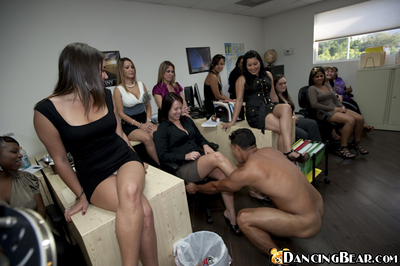 Nasty office girls jerking and sucking a stripper