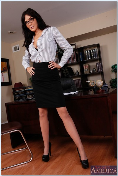 MILF pretty Diana Prince in sexy glasses getting naked in office