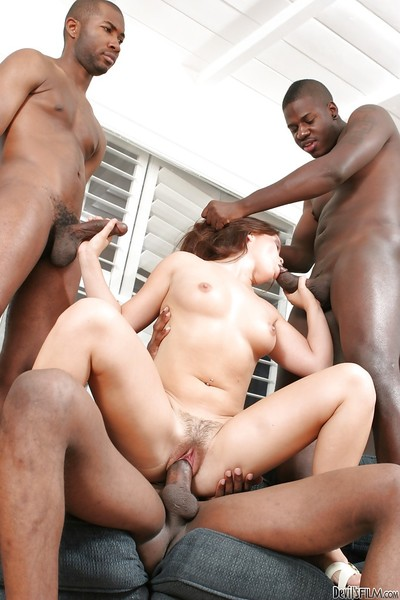 Lean Kaci Starr gets pounded bottomless by some big black dongs