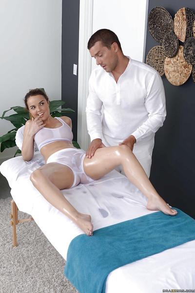 Pornstar Dillion Harper receiving oil massage in advance of hardcore fuck session