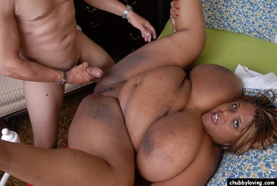 Obese black fatty Minxx eating jizz right after spunk flow on shaved pussy