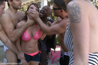 Girl attains fucked by group of hot men and decadent lesbian cuties