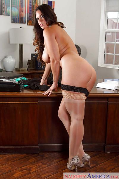 Curvy secretary Alison Tyler modeling in underwear and pantyhose in office