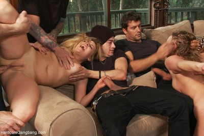 Slutty stepsisters get fucked in group by 8 gentlemen
