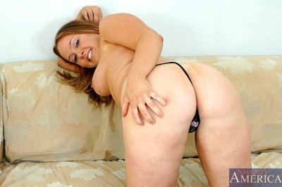 Fat college girl Amber Peach showing gigantic meatballs and puffy arse