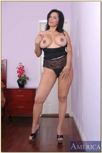 Mature latina babe Tiana Rose revealing tough hooters and spreading