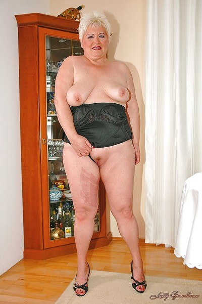 Short haired fatty established with unfit boobs stripping off her clothes