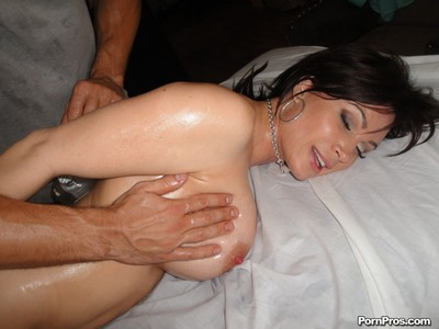 Breasty milf gets massaged and bonked