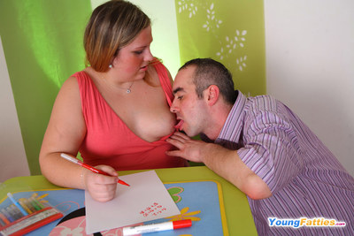Brutal older teacher engulfing on hot fatty s nipples