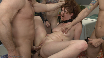 Dripping in chains and bondage, cici is taken down by five men at the massage pa