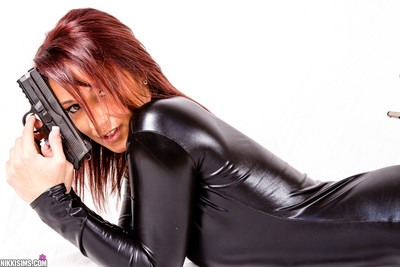 Nikki sims is dangerously wild in stockings and latex