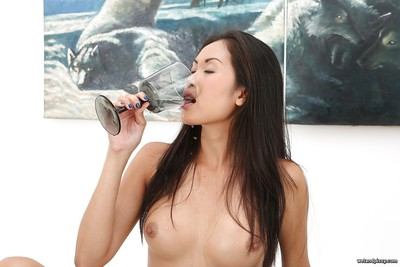 Tiny boobed Japanese babe Davon Kim using medical forcep to spread pussy