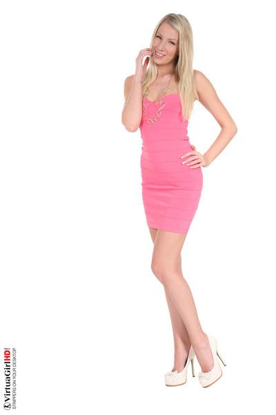Lovely blonde danielle maye removing summer costume