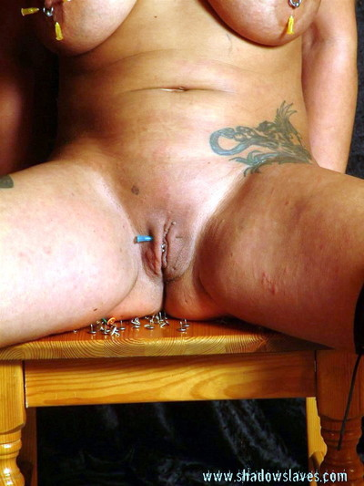Busty milf ginas brutal bdsm and enthusiastic fetish needle torture of pink flaps and