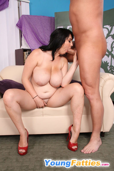 Lucky stallion gets his dick serviced by a curvy fatty
