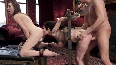 Locked in a strict body stock, woman passports fastened tight, clamps on her swollen nipples, t