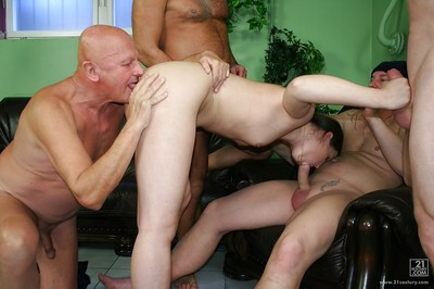 Slutty european babe gets blowbanged and released pee on by four horny men