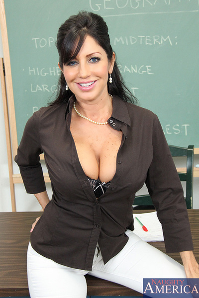 Busty brunette teacher is sexually excited and decides to cut her student slack by smokin