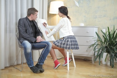 Tricky old teacher sneaks up on his student christy and starts h