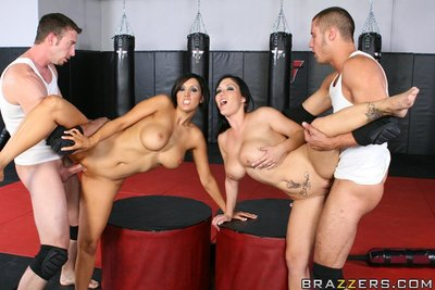 Busty babes Dylan Ryder and Claire Dames having hot groupsex