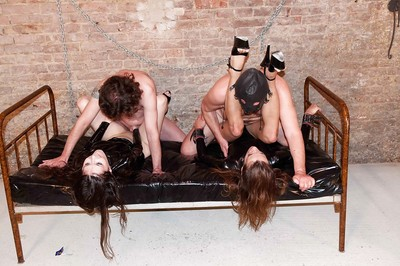 Amateur Fuck and play groupsex with latex clad sluts Sarah Murky and Fiona F