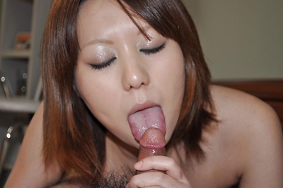 Asian girl Aoi Fukasawa gets her shaggy pussy boned-up and creampied