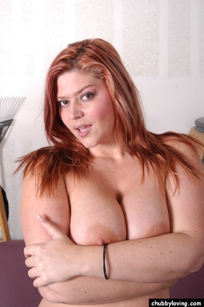 Chunky babe Eden fondles tough melons and licks own nipples