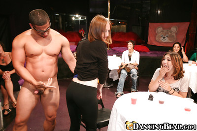 Sexy ladies have fun with horny male stripper at the CFNM get-together